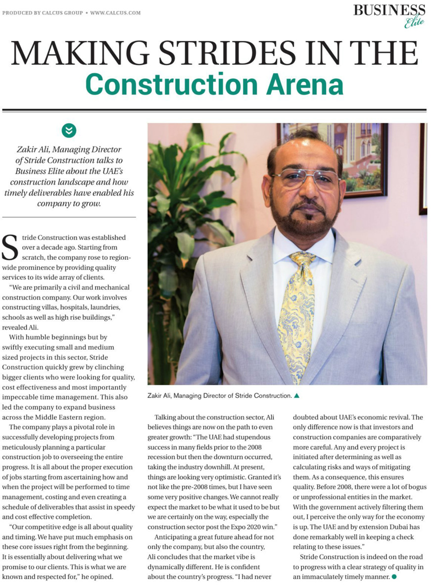 Making Strides in the Construction Arena